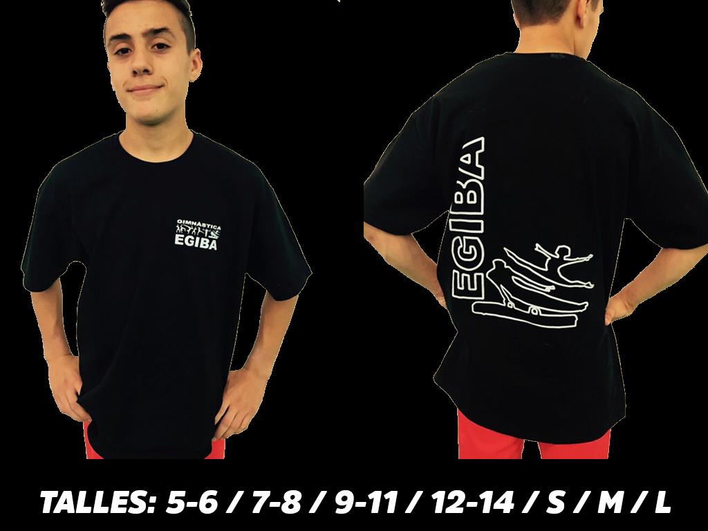 samarreta negra amb lletres blava - EGIBA